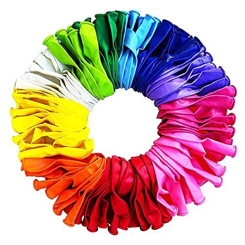 Aweskmod globos de cumpleaños -100 globos de colores-globos de látex colores-globos-helio globos-bombona helio globos-arco para globos-globos para fiestas