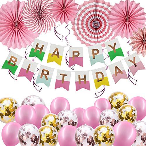 Hyselene Decoracion Cumpleaños,  Globos de Cumpleaños con Pancarta de Feliz Cumpleaños,  Globos de Confeti,  Abanico de Papel,  Decoración Rosa de Fiesta de Cumpleaños para Adultos Infantil
