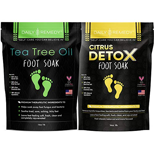 DAILY REMEDY Tea Tree Oil & Citrus Soak Foot Soak -Variety Pack of 2 - For Foot Pain, Athlete's Foot, Foot Odor, Calluses - Natural Epsom Salts, Made In USA