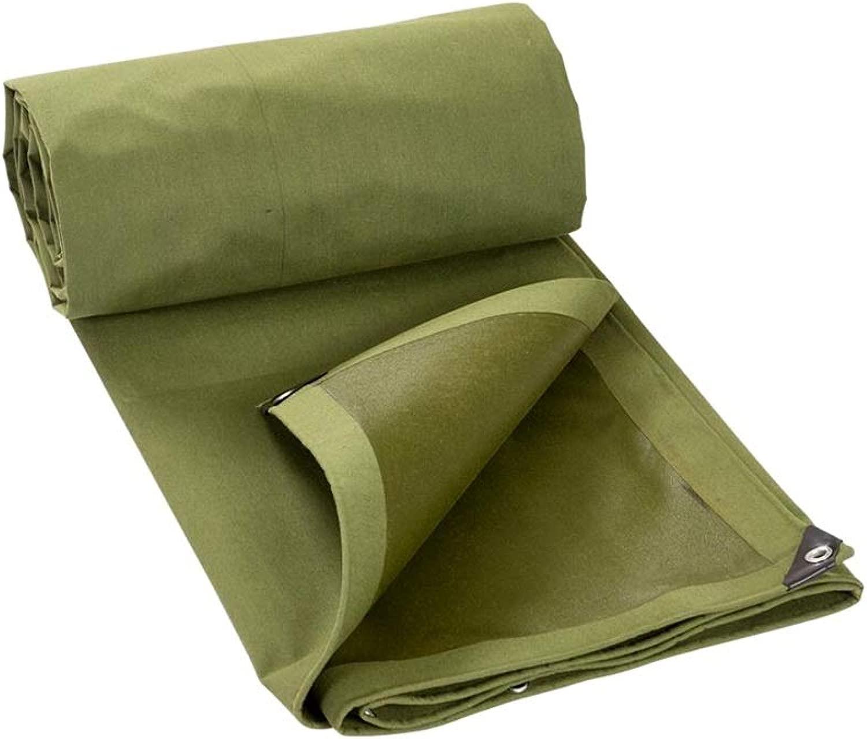 ZX タープ カーターポリン アウトドア 厚い 日焼け止め 防水 耐摩耗性 キャンバス 防雨布 ダストタープ テント アウトドア (Color : 緑, Size : 5x6m)