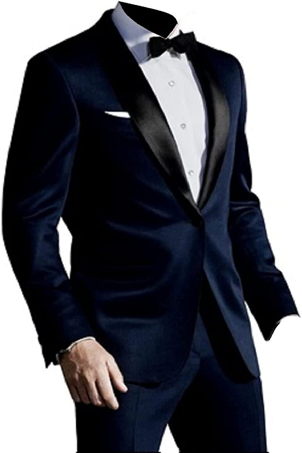 HiFacon Mens Tuxedo Finished Bottom James Midnight Blue Slim Fit Two Piece Suit