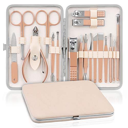 Profesional Set de Manicura y Pedicura NASUM, Cortauñas Profesional, Tijeras de uñas, Profesionales Manicura Kit, para Manicura y Pedicura, Limpieza de cutículas (18 Piezas)