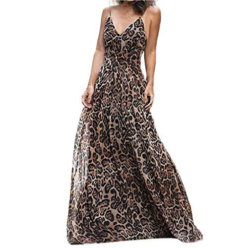Sommer Kleid Damen Lange LSAltd Frauen Sexy Leopardenmuster Kleid Damen V-Ausschnitt Ärmelloses Langarm Hohe Taille Maxi Kleid Größe S-XL