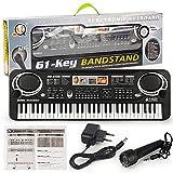 EANSSN Piano Digital Electrónico, Teclado para Niños, Órgano Eléctrico Portátil Multifuncional 61 Llave, con Juguetes De Micrófono, para Principiantes, Niños, Regalos