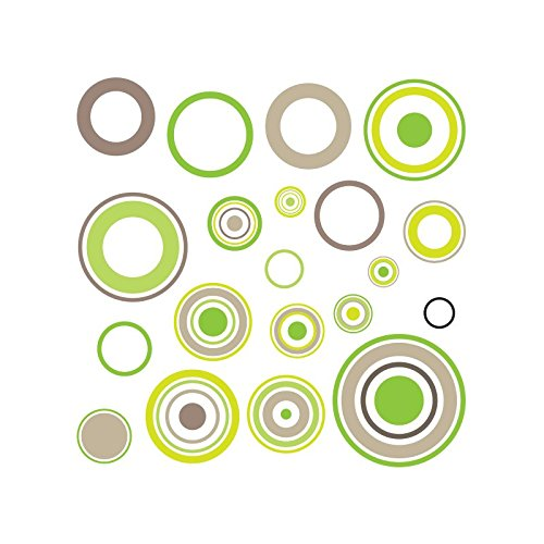 Sticker cercles Taupe panach vert - Taille - 30 x 30 cm/Diam petit 2,4cm-Grand 10cm