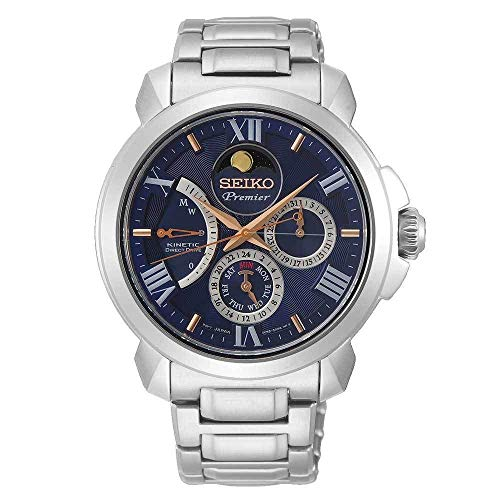 Seiko Premier Kinetic Direct Drive Moon Phase Sapphire Glass Steel Dress Blue Watch SRX017P1