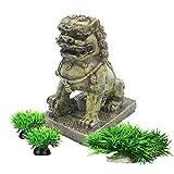 Smoothedo-Pets Decoraciones de peceras para acuario, decoración de tamaño pequeño, accesorios de peces, esconderse asiático, jardín asiático, bestia FengShui (león asiático dorado)