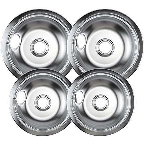 Beaquicy 316048413 316048414 Range Drip Pans - Compatible with most Plug-in Electric Ranges - 4 Pack of 6 Inches and 8 Inches in Diameter
