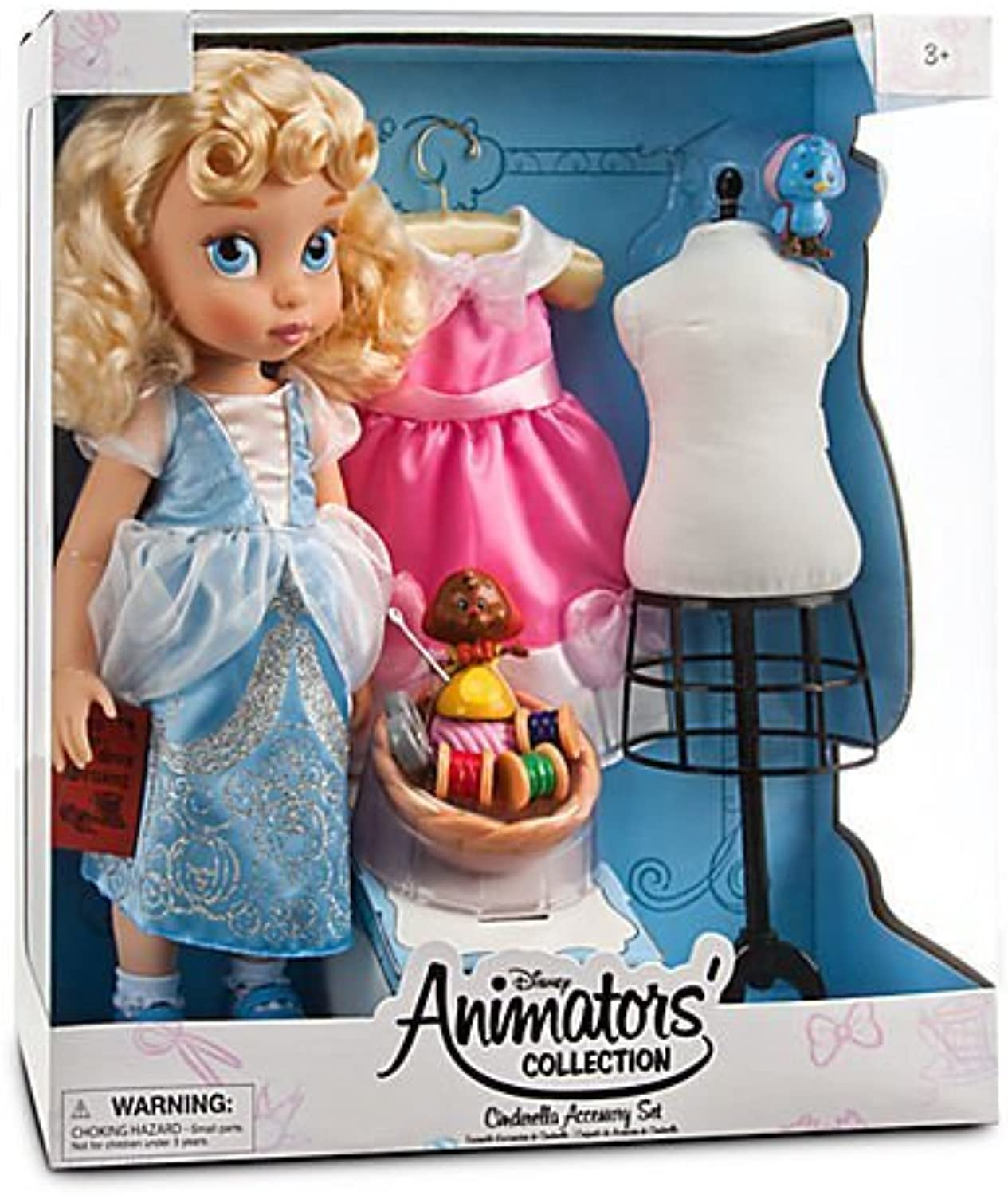 Limited Edition Deluxe Cinderella Doll Set - Disney Animators' Collection Includes 2 New Dresses, Dress Form, Sewing Basket, Blaubird, and Suzy the Mouse. by Disney