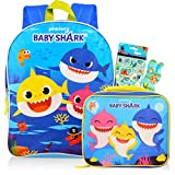 Baby Shark Travel Bag Backpack with Baby Shark Lunch Bag for Boys Girls - Baby Shark School Backpack Bundle with Baby Shark Lunch Box, Finding Dory Reward Stickers, and More (Baby Shark School Supplies)