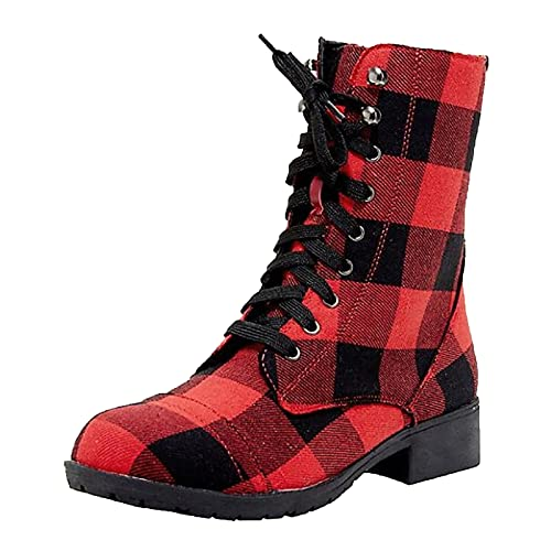 iCODOD Womens Ankle Boots Platform Boots Winter Non Slip Plaid Work Boots Shoes Hiking Boots Christmas Red Snow Boots