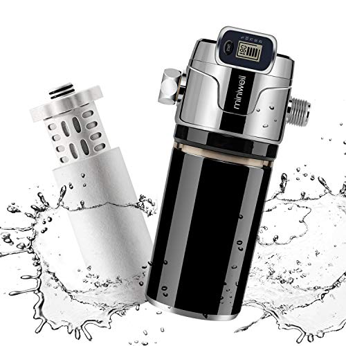 Miniwell Luxury Shower Water Filter L760-E201 with digital screen and Replaceable Cartridges, Shower Head Filter with Double Filters, Remove 99% Chlorine (Shower Filter-Black color)