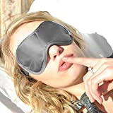 """Sleep More (Large-XL) Sleeping Mask for Men or Women, with Free """"ONE BAG"""". A GREY Satin Natural Rest Aid for Sleep Disorders & Insomnia"""