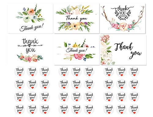 Thank You Cards 36 Count Indie Pop Elegant Floral Thank You Notes with Envelopes and Cute Stickers Bulk Thank You Cards Set Blank on the Inside 4 x 6 Inches