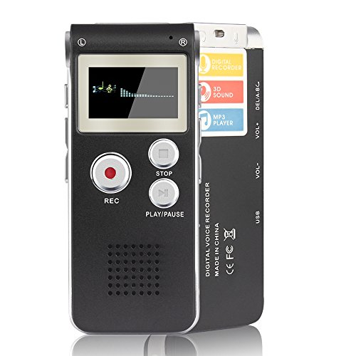 ACEE DEAL Digital Voice Recorder 8GB, Audio Voice Activated MP3 Player with Android USB Port, Multi-Function Voice Recorder with Built-in Speaker, Including Cable and Headphones-Black-Silver