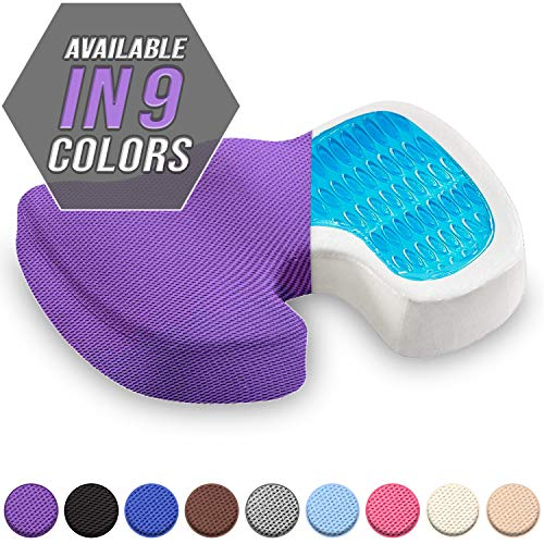 Seat Cushion Orthopedic Gel & Memory Foam Coccyx Cushion for Tailbone Pain Office Chair Car Seat Cushion Sciatica & Back Pain Relief (Purple)