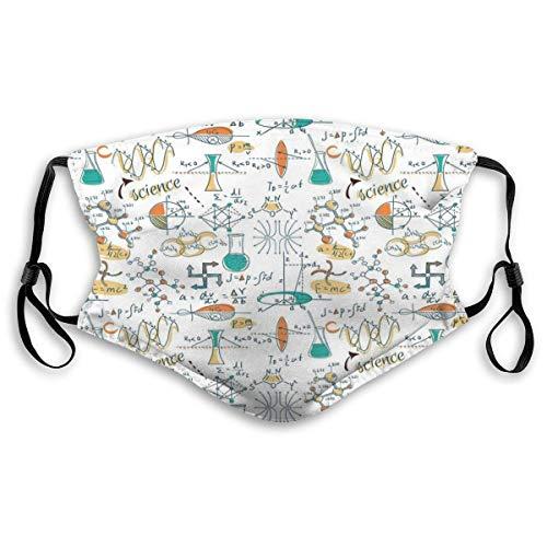 Lab Scientific Chemistry Sportmasker, stofdichte glimlachende maskers, wasbaar herbruikbaar mondmasker, wit