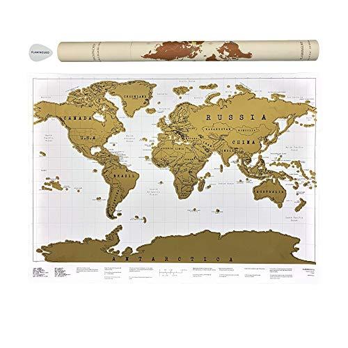 Flamingueo Mapa Mundi Rascar - Mapa del Mundo Grande para Rascar, Mapamundi con Pica Personalizada...