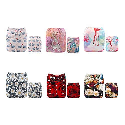 ALVABABY Baby 6pcs Pack Pocket Cloth Diaper with 2 Inserts Each (Girl Color) 6DM03