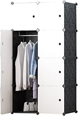 JOISCOPE 収納ボックス 扉付き 収納棚 衣類収納ラック 組み立て式 ダンス おしゃれ 75x145x45cm 大容量 黒白 8