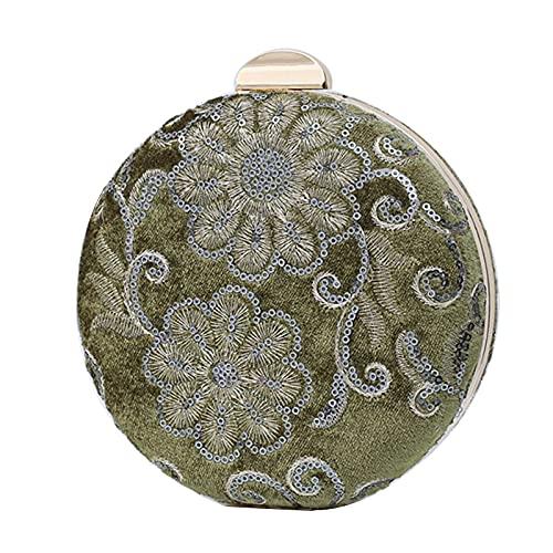 QIANJINGCQ Moda retrò fatto a mano ricamo di perline borsa da banchetto cheongsam pochette da donna piccola borsa rotonda borsa da sera messenger borsa da sposa borsa da pranzo