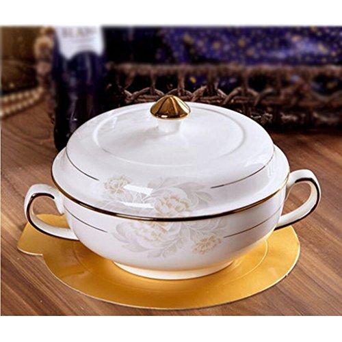 MXJ61 Bol à Soupe à la Maison Plat à la Vaisselle avec Couvercle Four à Micro-Ondes Céramique Soupe Diamètre du Bassin 22cm (Couleur : A)