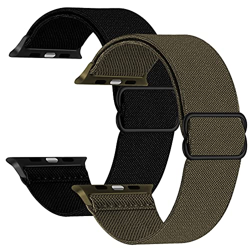 2 Pack Adjustable Stretchy Band Compatible with Apple Watch 44mm 42mm 40mm 38mm, Sport Elastic Stretch Scrunchie Braided Solo Loop Cute Nylon Strap for iWatch SE 6 5 4 3, Men Women, Black Army Green