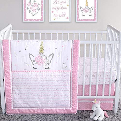 Mystical Dreams Unicorn and Star Theme 4 Piece Baby Girl Crib Bedding Set