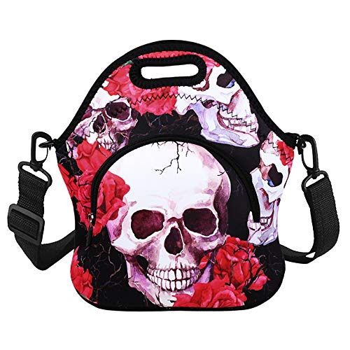 Violet Mist Neoprene Thermal Insulated Lunch Tote Bag Soft Large with Extra Pocket Detachable Adjustable Shoulder Lunchbox Handbags Women Girls Skull Flower