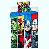 AVG Avengers - Juego de funda nórdica reversible de 140 x 200 cm + funda de almohada de 63 x 63 cm, diseño de Los Vengadores de Marvel, apto para todas las estaciones