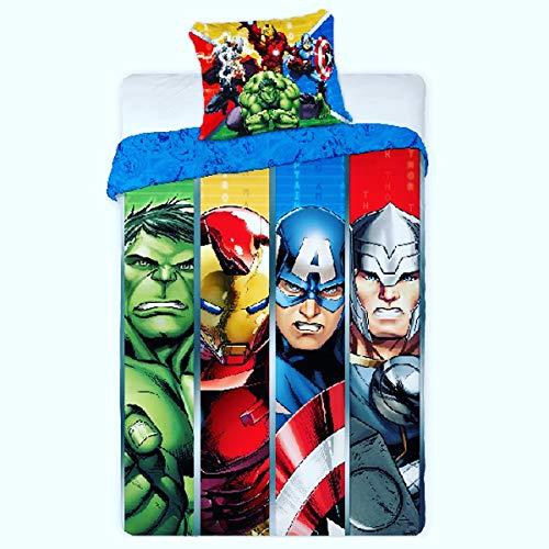 AVG Avengers - Juego de funda nórdica reversible de 140 x 200 cm + funda de almohada de 63 x 63 cm, diseño de Los Vengadores de Marvel,...