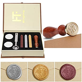 Wax Seal Stamp Kit,Mingting Classical Old-Fashioned Antique Wax Stamp Seal Kit Initial Letters Alphabet Set Gift Box with Vintage Wooden Handle and Brass Color Head J