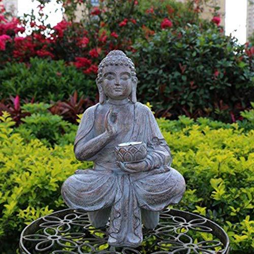 HIGHKAS Meditierende Buddha-Gartenstatuen mit solarbetriebenem LED-Licht, Buddha-Skulpturen im Freien, chinesisches buddhistisches Geschenk für Patio Porch Yard Decorati