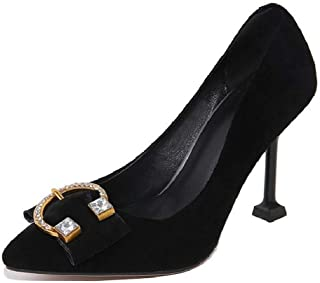 Pointed Rhinestone Low Top High Heels For Banquet Wedding Dress Daily (Color : Black, Size : 39)