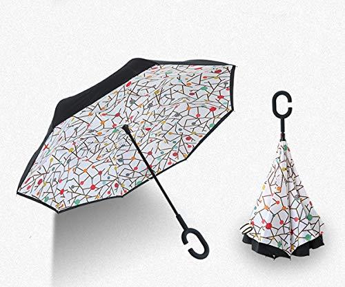 Yongxu Winddicht Regenschirm, Männer Und Frauen Reversion Regenschirm Innovative Reverse Regenschirm Double Layer, Umgedrehter Regenschirm Mit C Griff Für Auto Outdoor,Candy Trees