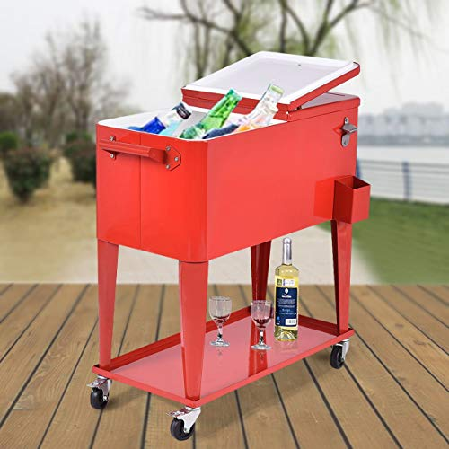 ReunionG 80-Quart Rolling Cooler Cart w/Bottle Opener and Catch Tray for Party Steel Bar Bistro- Red