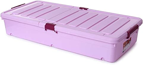Storage Box On Wheels Clear Plastic with Lid - Ideal for Under Bed Organisation (Color : Purple, Size : 45 * 93 * 17)