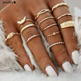 Froomer 12 pcs Midi Ring Set Damen Boho Ringe Finger Tip Ring Schmuck