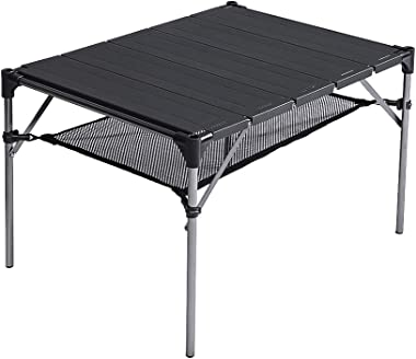 SOVIGOUR Lightweight Portable Camping Table, Outdoor Folding Picnic Table, Aluminum Compact Desk for Camping Hiking Travel wi