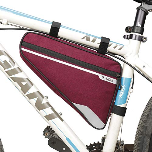 LLQ Bike Travel Bags, Large Bicycle Frame Bag, Bike Phone Bag for Outdoor, Cycling Accessories (Red)