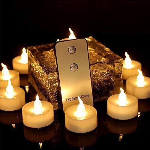 XXLYY 12pcs Tea Lights Eco Friendly with Remote Flameless Led Votives Battery Operated Flickering Warm White Candles for Halloween Decoration Holiday Party