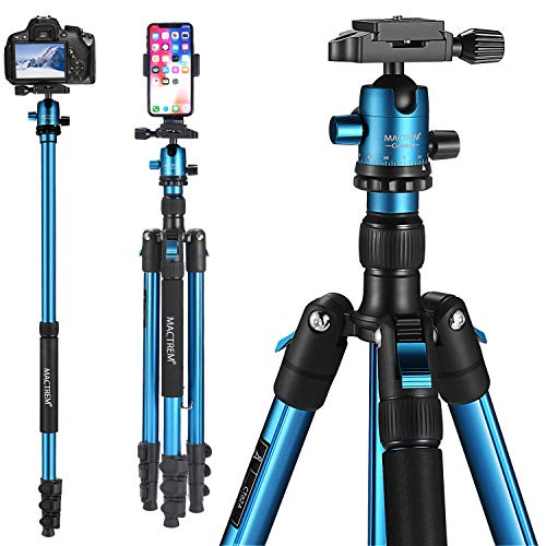 "MACTREM Professional Camera Tripod DSLR Tripod for Travel, Super Lightweight and Reliable Sturdy, Ball Head Tripod Detachable Monopod with Phone Mount Carry Bag, 21.5"" to 62.5"", 33lb Load"