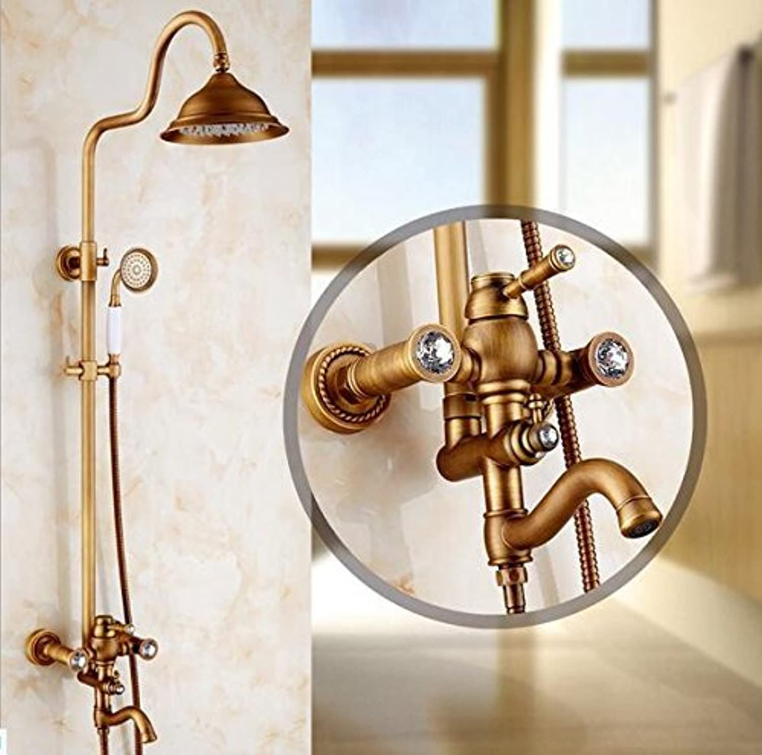Antique Copper Full European Flower Flowers Diamond Shower Shower Faucet Retro Sprinkler Costume