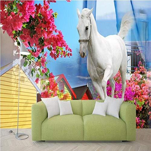 ZJfong Gebruikergedefinieerde behang Griekse Middellandse Zee schimmel Europese achtergrond muur woonkamer slaapkamer TV wooncultuur 420x260cm