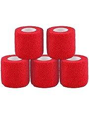 テーピングテープ キネシオ テープ テーピング 自着性テープ 不織布 伸縮性&通気性 エラスチックバンデージ 筋肉・関節サポート 弾性包帯 汗に強い 5巻入 4.5m/巻