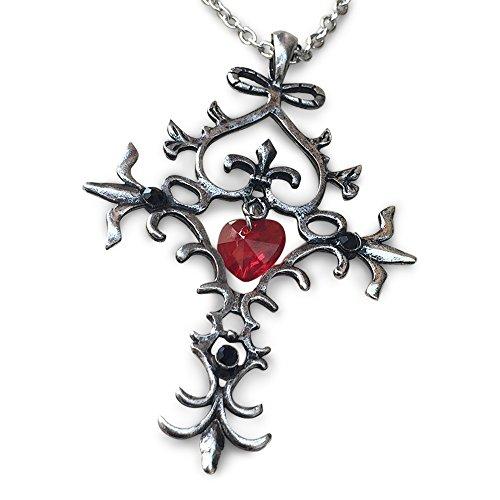 Orion Creations TV inspiriert Vampire Dairies Kreuz AnhŠnger Halskette mit rotem Kristall