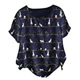 Meikosks Womens Plus Size Cotton and Linen Blouse Short Sleeve O-Neck Top Cat Print Tshirt Navy