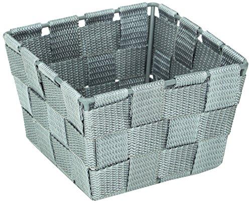 WENKO Panier de salle de bains Adria Mini, square gris - panier de bain, Polypropylène, 14 x 9 x 14 cm, Gris