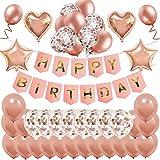 MMTX Decorazione Festa di Compleanno Bimba 18, Palloncini Oro Rosa Festone di Palloncini per Compleanno Oro Rosa Palloncini in Lattice Palloncini in Lattice con coriandoli Oro Rosa