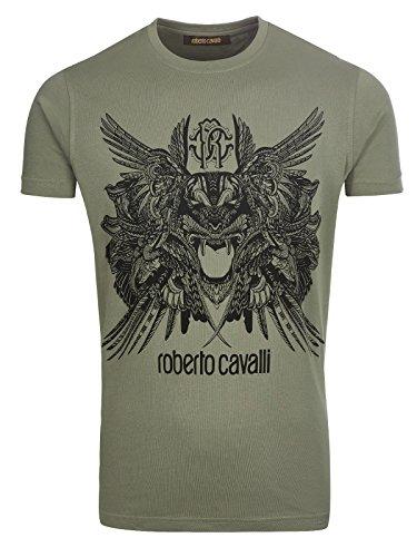 ROBERTO CAVALLI Mens Black Graphic Crewneck T-Shirt Size US L IT 52